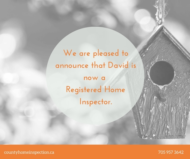 We are pleased to announce that David is now a Registered Home Inspector. (1)